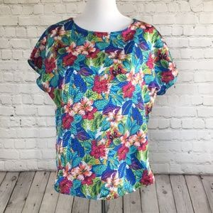 Vintage Tropical and Floral Print Blouse